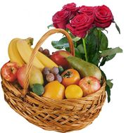 Fruit basket and 5 roses - flowers and bouquets on roza.od.ua
