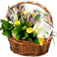 """Basket with flowers and sweets"" in the online flower shop roza.od.ua"