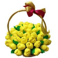 """""""Basket of tulips from sweets"""" in the online flower shop roza.od.ua"""