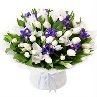 Delicate bouquet with irises - flowers and bouquets on roza.od.ua