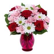 Bouquet of roses, chrysanthemums and alstroemerias - flowers and bouquets on roza.od.ua