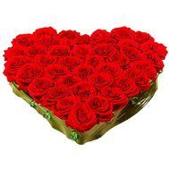 Сердце из 55 роз - цветы и букеты на roza.od.ua