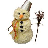 Snowman from flowers - flowers and bouquets on roza.od.ua