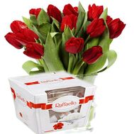 """Tulips with sweets"" in the online flower shop roza.od.ua"
