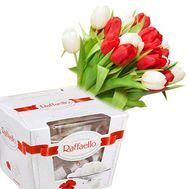 Тюльпаны с Raffaello - цветы и букеты на roza.od.ua