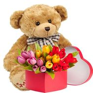 """Tulips in a box and a teddy bear"" in the online flower shop roza.od.ua"
