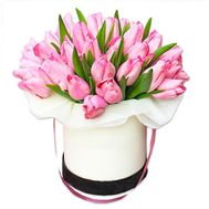 """25 tulips in a box"" in the online flower shop roza.od.ua"