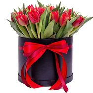"""29 red tulips in a box"" in the online flower shop roza.od.ua"