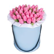 Pink tulips in a box - flowers and bouquets on roza.od.ua