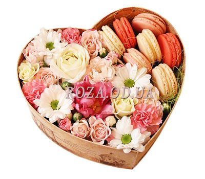"""Flowers and macaroons in a box"" in the online flower shop roza.od.ua"