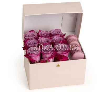 """Pink roses and macaroons"" in the online flower shop roza.od.ua"