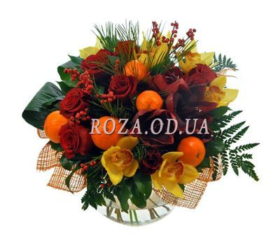 """""""Bouquet with tangerines for the New Year"""" in the online flower shop roza.od.ua"""