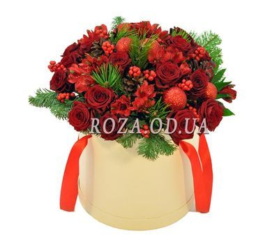 """Flowers in the box for the New Year"" in the online flower shop roza.od.ua"