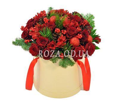 """""""Цветы в коробке на Новый год"""" в интернет-магазине цветов roza.od.ua"""