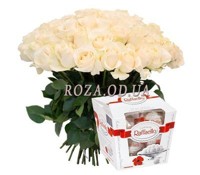 """Buy a bouquet of white roses"" in the online flower shop roza.od.ua"