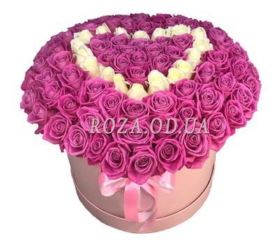 """Heart of 101 roses in a box"" in the online flower shop roza.od.ua"