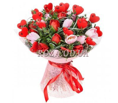 """""""Bouquet of tulips with hearts"""" in the online flower shop roza.od.ua"""