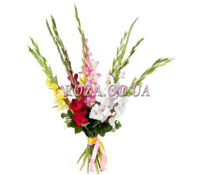 """Bouquet of multicolored gladioluses"" in the online flower shop roza.od.ua"