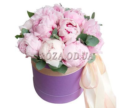 """""""13 pink peonies in a box"""" in the online flower shop roza.od.ua"""