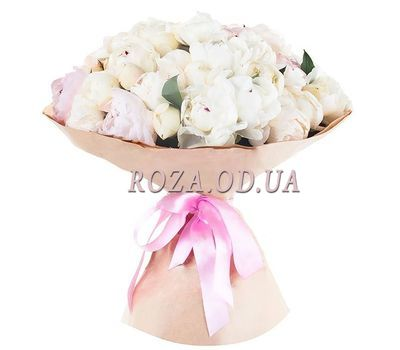 """Bouquet of 35 white peonies"" in the online flower shop roza.od.ua"
