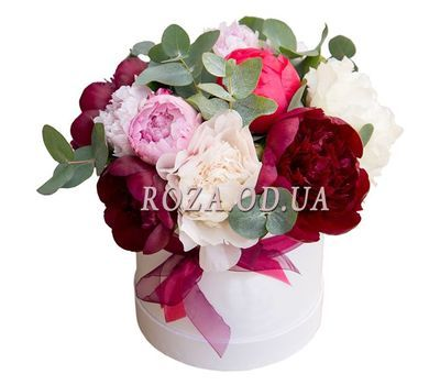 """""""Multicolored peonies in a box"""" in the online flower shop roza.od.ua"""