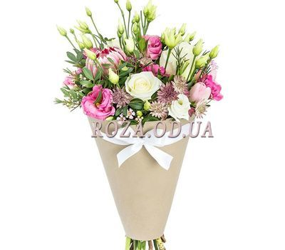 """Bouquet of eustomas in a cone"" in the online flower shop roza.od.ua"