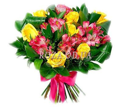 """Bouquet of mixed colored alstroemerias and roses"" in the online flower shop roza.od.ua"