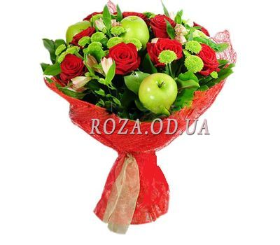 """Bouquet of roses with apples"" in the online flower shop roza.od.ua"