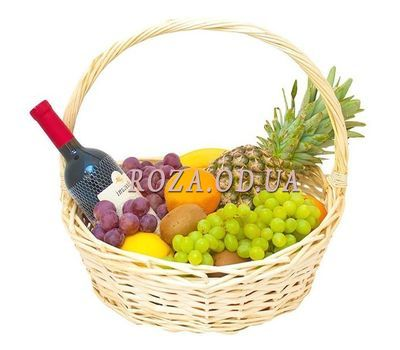 """""""Basket with fruits and wine"""" in the online flower shop roza.od.ua"""