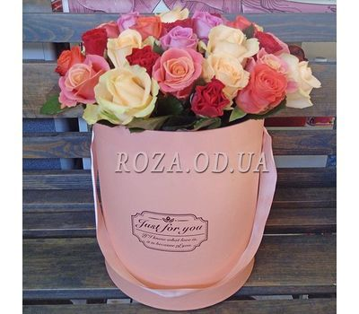 """""""Разноцветные розы в корбке"""" in the online flower shop roza.od.ua"""