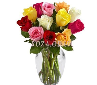 """11 multi-colored roses in bouquet"" in the online flower shop roza.od.ua"