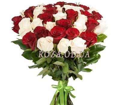 """41 красная и белая импортная роза"" в интернет-магазине цветов roza.od.ua"