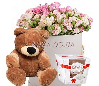 """""""Цветы с мишкой и Raffaello"""" в интернет-магазине цветов roza.od.ua"""