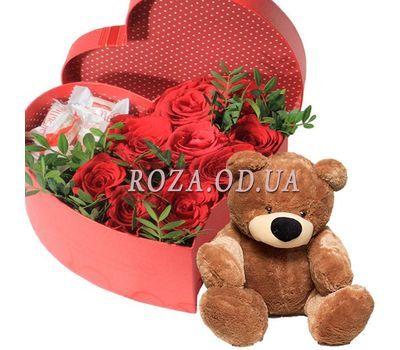 """""""Розы с Raffaello в коробке с мишкой"""" в интернет-магазине цветов roza.od.ua"""