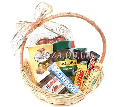 """""""A basket of sweets and coffee Jacobs"""" in the online flower shop roza.od.ua"""