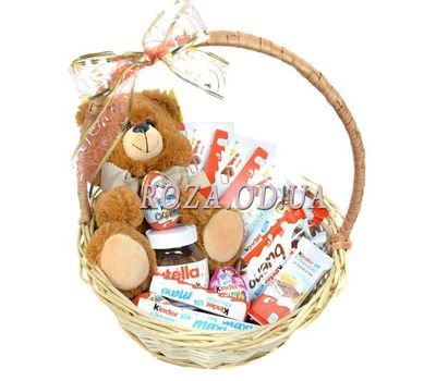 """A basket of sweets and soft toys"" in the online flower shop roza.od.ua"