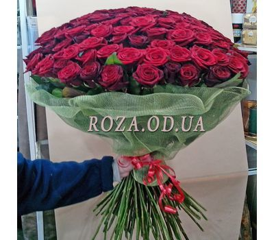 """101 красная роза 70 см - вид 2"" в интернет-магазине цветов roza.od.ua"