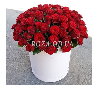 """101 красная роза в коробке - вид 2"" в интернет-магазине цветов roza.od.ua"