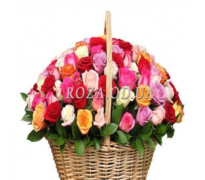 """101 multi-colored rose in the basket"" in the online flower shop roza.od.ua"