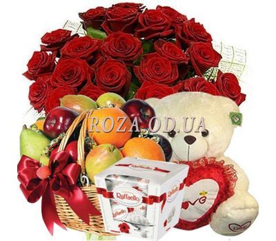 """""""25 roses, teddy bear, candy, fruit"""" in the online flower shop roza.od.ua"""