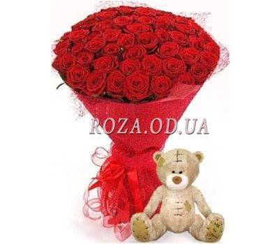 """51 красная роза и мишка"" в интернет-магазине цветов roza.od.ua"