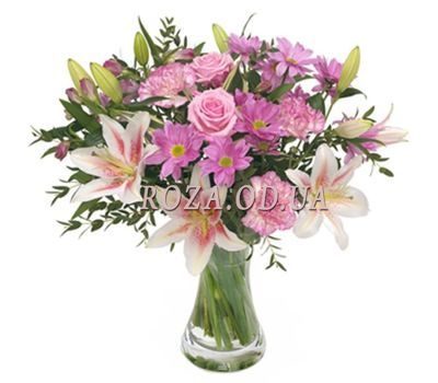 """""""Букет із лілії, троянд, хризантем і гвоздик"""" в интернет-магазине цветов roza.od.ua"""