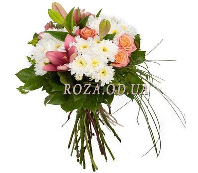 """Bouquet of roses, chrysanthemums and lilies"" in the online flower shop roza.od.ua"
