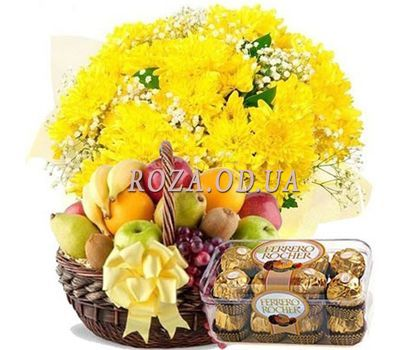 """Bouquet of chrysanthemums, fruit, Ferrero"" in the online flower shop roza.od.ua"