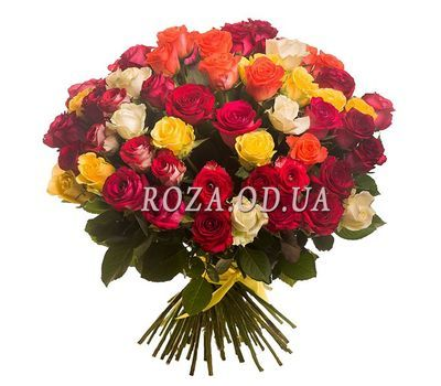 """Bouquet of 45 multi-colored roses"" in the online flower shop roza.od.ua"