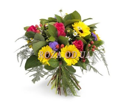 """Bouquet of flowers from gerberas and roses"" in the online flower shop roza.od.ua"