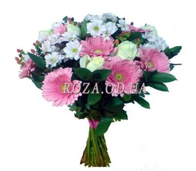"""Bouquet of flowers of gerberas, roses and chrysanthemums"" in the online flower shop roza.od.ua"