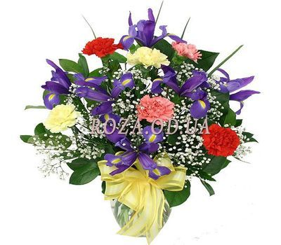 """Bouquet of irises and carnations"" in the online flower shop roza.od.ua"