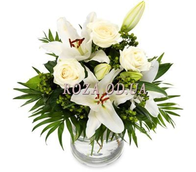 """Bouquet of lilies and 3 roses"" in the online flower shop roza.od.ua"
