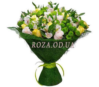 """Bouquet of flowers from chrysanthemums, alstromeries and roses"" in the online flower shop roza.od.ua"